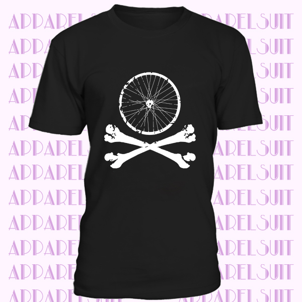 Bike wheel skull t-shirt Mountain Bike mtb Bicycle downhill tshirt