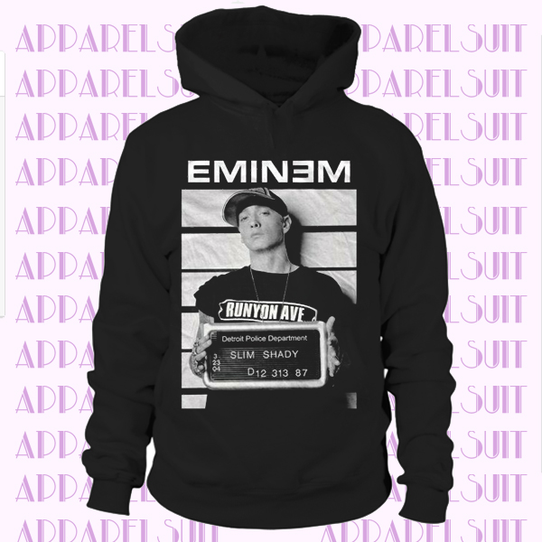 Eminem Arrest Mugshot Photo Slim Shady Rap Music Official Mens Black Hoodie