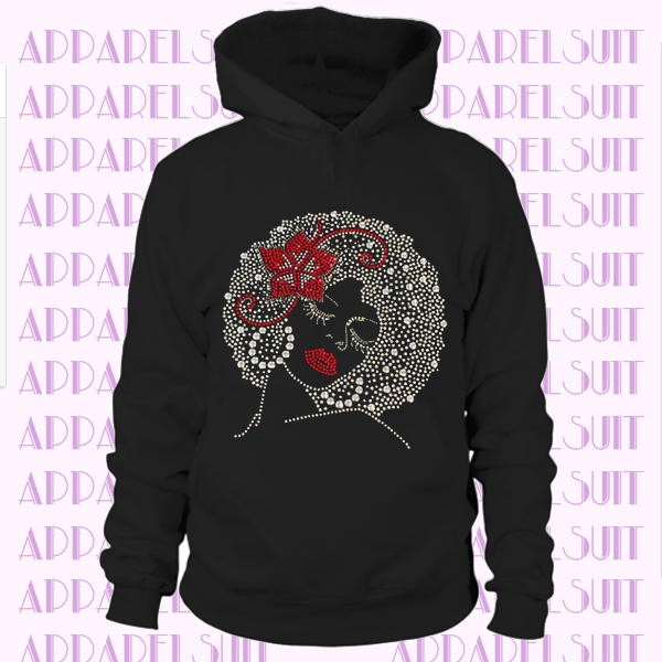 Afro Girl with Red Flower Hoodie